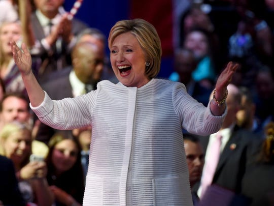 Democratic presidential candidate Hillary Clinton celebrates