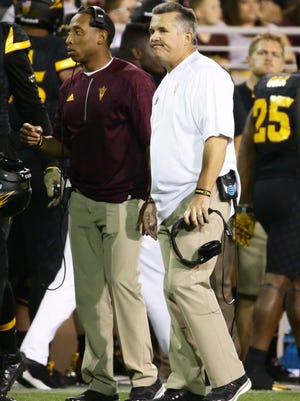 Arizona State head coach Todd Graham reacts to a Utah touchdown late in the second quarter on Thursday, Nov. 10, 2016 in Tempe, Ariz.