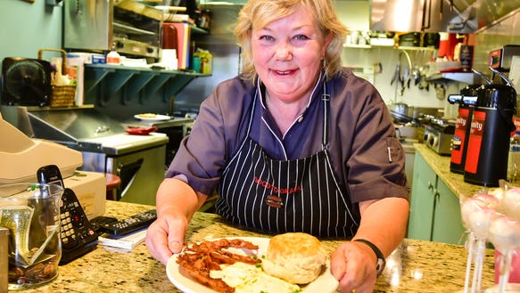 Mary Plaisance prepares homestyle breakfast and lunch