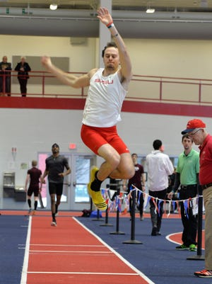 The long jump was one of the events Sam Black of Pinckney never tried until becoming a decathlete at Saginaw Valley State University.
