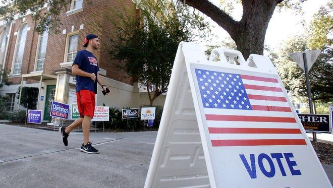 Voter leaves polling place, Orlando, Fla., Nov. 8, 2016