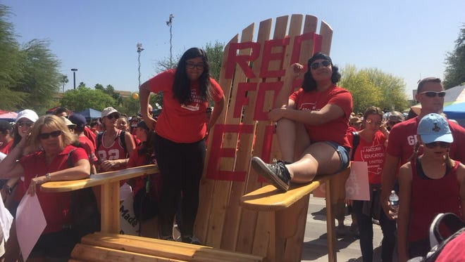 Educators met at the Arizona Capitol for a third day as part of a statewide teacher walkout on April 30, 2018. On this day, they brought with them a giant adirondac chair.