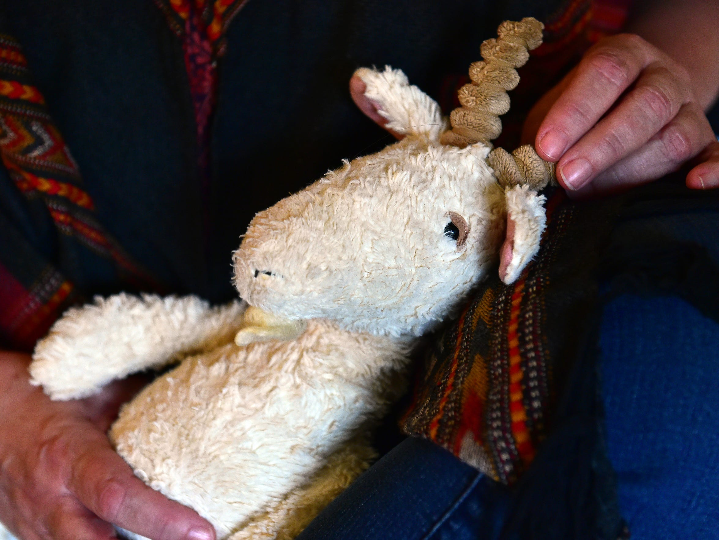 Brooke Conner's stuffed animal goat lives on her bed at home in Mississippi while she's in the psychiatric ward at Ochsner Medical Center in New Orleans.