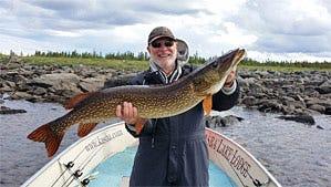 Bill Gindlesperger with fish caught at Kasba Lake.