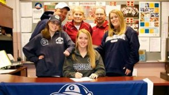 Kelly Amen signs her National Letter of Intent to attend Georgetown next fall