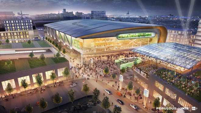 An architect's rendering of a proposed new arena for the Milwaukee Bucks.
