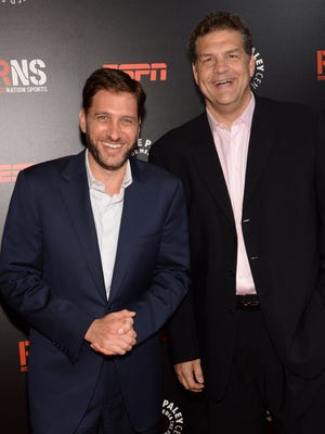 "ESPN ""Mike & Mike in the Morning"" hosts Mike Greenberg, left, and Mike Golic."