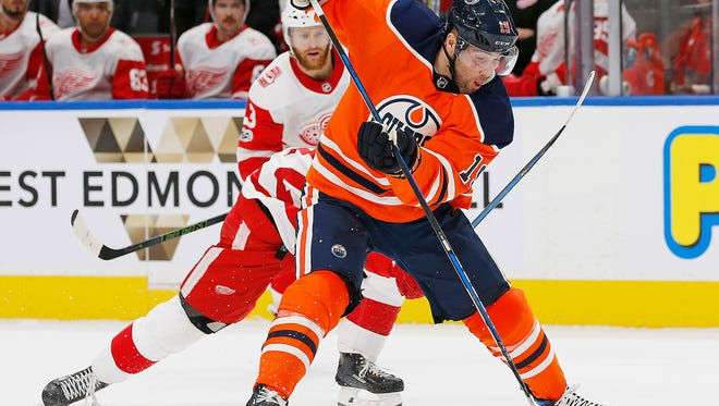 Oilers forward Patrick Maroon moves the puck against the Red Wings in the third period on Nov. 5 on Edmonton, Alberta, CAN.