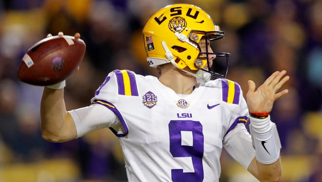 LSU quarterback Joe Burrow passed for career-high yardage and completions in Saturday's game against Rice in Baton Rouge.