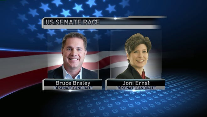 U.S. Rep. Bruce Braley and state Sen. Joni Ernst are competing to replace retiring U.S. Sen. Tom Harkin.