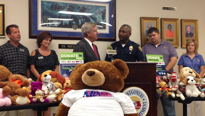 "Cumulus Media and AirNow Cooling and Heating donated 100 teddy bears to Montgomery Police Department Thursday through their new program ""Teddy Bears for Cops and Kids."" They hope the ""trauma teddies""will  provide a measure of comfort to children involved in traffic crashes and other traumatic events involving police response."
