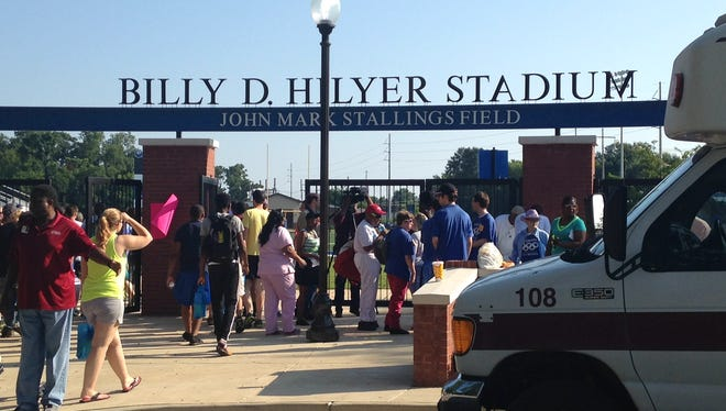 Hundreds of smiling Olympians, both young and old, stepped off buses this morning onto Faulkner University's Billy Hilyer Stadium to take part in an all-day Special Olympics event.