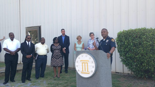 Montgomery Police Department Interim Chief John Brown announces arrests and police initiatives against property crimes during an early morning press conference Thursday at the Nehemiah Center in Montgomery.