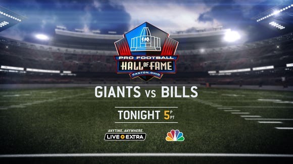 The New York Giants take on the Buffalo Bills at the Hall of Fame Stadium in Canton, Ohio.