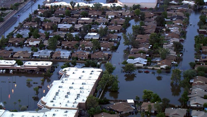 An aerial shot of the flooding in Mesa on Sept. 8, 2014.