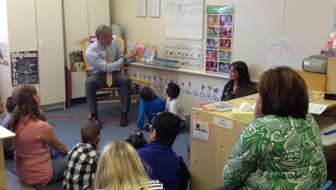 Congressman Sean Patrick Maloney, D-Cold Spring, reads to a class of students at the Poughkeepsie Head Start Center of Astor Services for Children & Families on Delafield St.