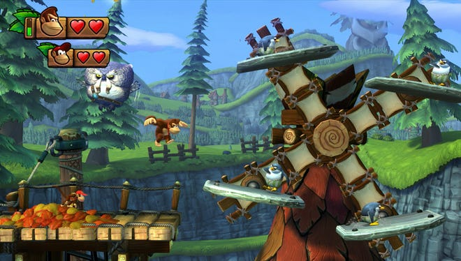 """""""Donkey Kong Country: Tropical Freeze"""" for the Nintendo Wii U features classic 2D platforming with a 3D look."""