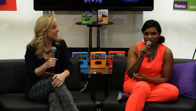 Actress Mindy Kaling, right, chats with USA TODAY contributor Jennifer Jolly at SXSW.