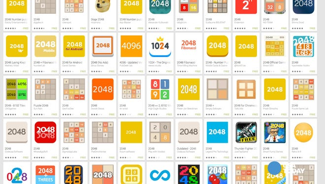 The app 2048 has produced tons of clones.
