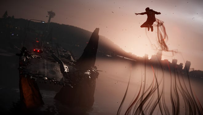 Delsin leaps toward a bridge in a scene from 'inFamous: Second Son.'