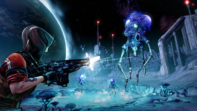 Athena, left, appears in a scene from 'Borderlands: The Pre-Sequel.'