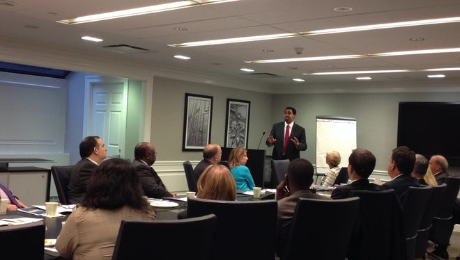 State Education Commissioner John King addresses the Westchester Business Council board Wednesday.