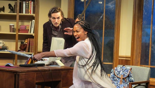 """Jacob A. Ware and Nadia Brown have the daggers out in """"& Juliet,"""" the Robert Caisley play now in its world premiere run at NJ Rep."""