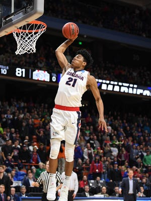 Gonzaga Bulldogs forward Rui Hachimura (21) goes up for a shot during the second half against the Ohio State Buckeyes during the second round of the 2018 NCAA Tournament at Taco Bell Arena.