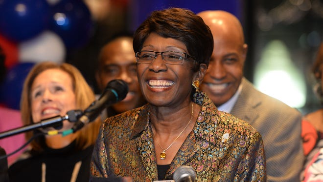 Ollie Tyler smiles as she thanks her supporters after winning a runoff election December 6, 2014 against Victoria Provenza to become Shreveport's next mayor.