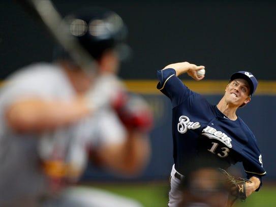 Milwaukee Brewers starting pitcher Zack Greinke delivers