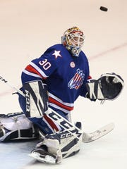 Rochester goalie Linus Ullmark keeps his eyes on a