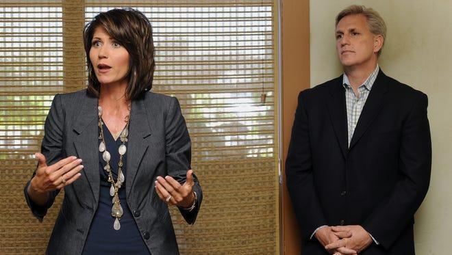 Kristi Noem campaigns with representative Kevin McCarthy of California Thursday night at Bracco.  (Elisha Page/Argus Leader)