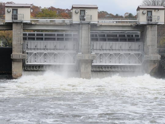 Water is released at the Pompton Lakes Dam  near Hamburg Turnpike in Pompton Lakes.