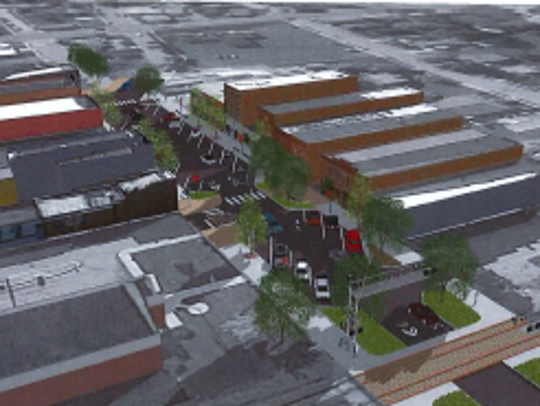 A rendering of what the street-scaping of Main Street