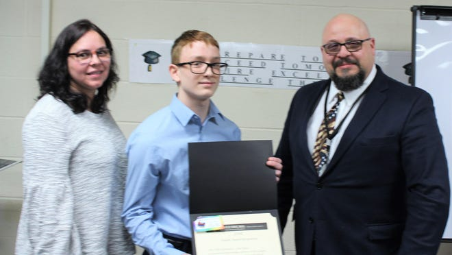 From left, are Vice President of FCSD Board of Education Katherine Rappaport, STAR Award recipient Cyrus Navas and FCSD Superintendent of Schools Dr. Ivan Katz. Navas was nominated for his quick thinking and heroic action during a serious accident involving the school van he was on during the morning of February 19, 2019.
