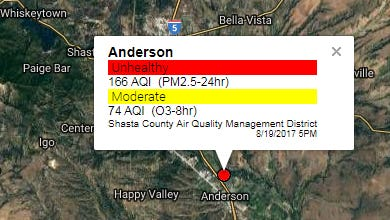 The air quality in Anderson on Saturday was in the unhealthy range due to smoke from wildfires to the north.