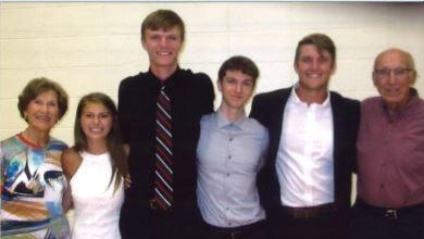 The scholarship honors the son of Regina and James Webb. Regina Webb, left, Allison Alberts, Jared Van Bramer, Connor Sannito, Michael Rose and James Webb.