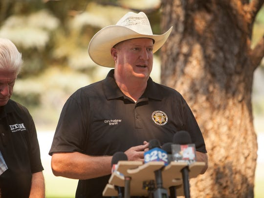 Utah Gov. Gary Herbert, Sheriff Cory Pulsipher and other area authorities visit Pine Valley to address the saddle fire near the area Wednesday, June 22, 2016.