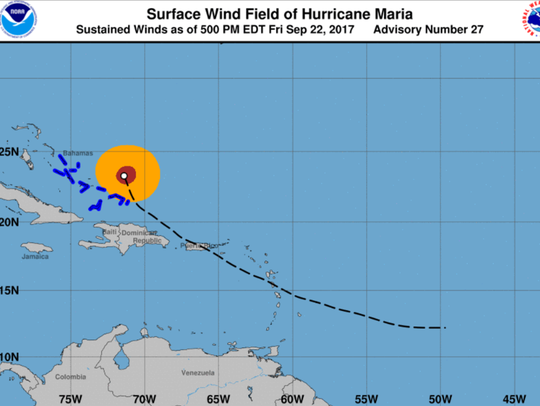 Surface wind field predicted for Hurricane Maria at