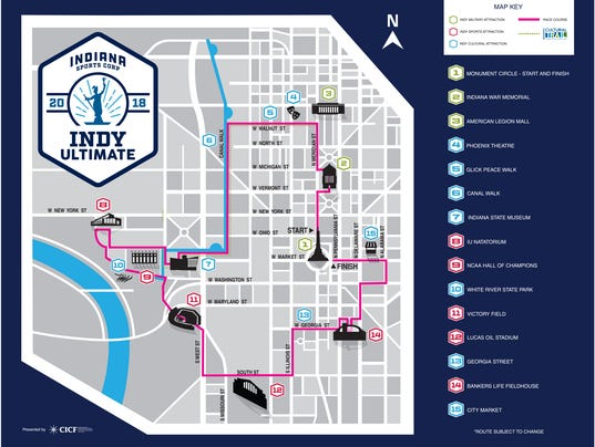 Route for 2018 Indy Ultimate