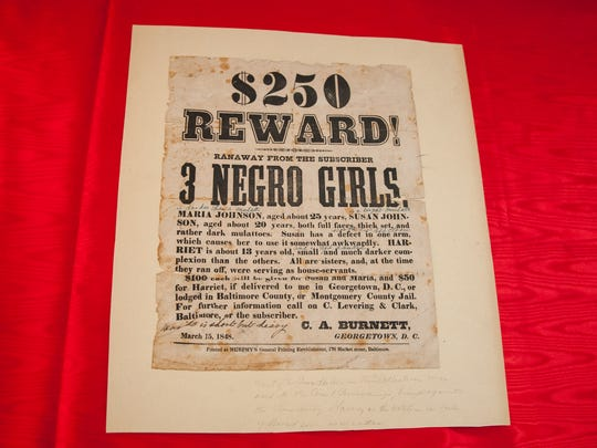 A reward poster for the return of three escaped slaves