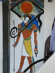 "A depiction of the ancient Egyptian Sun God RA is painted on the back of the solar-powered ""RA"" as seen Friday, August 25, 2017, in Sheboygan."