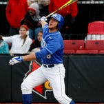 UK's AJ Reed, #18, watches a pop fly against U of L during their game at Patterson Stadium.   Apr. 15, 2014