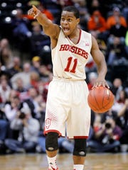 Indiana guard Yogi Ferrell directs his team in the second half against Illinois.