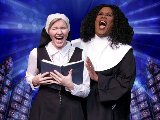 """Tricia Arvanis and Alexandra St. James-Gray make some joyful noise in """"Sister Act"""" at the Des Moines Community Playhouse."""