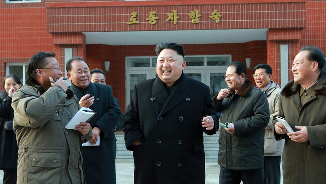 North Korean leader Kim Jong-Un, center, inspects the Kangdong precision machine plant in Pyongyang.