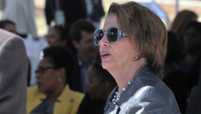 House Minority Leader Nancy Pelosi, D-Calif., arrives for the Faith and Politics Institute's 2015 Congressional Civil Rights Pilgrimage to Alabama in Montgomery on Sunday, March 8, 2015.