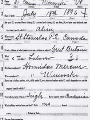 A 1917 World War I draft registration for Joseph Beaudoine, born in Canada on July 18, 1896, and living in Winooski. He was working for Hormidas Meunier. According to the Burlington directory, Hormidas was a harness maker. Later research established that Joseph was born on July 18, 1894, not 1896.