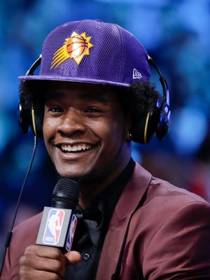 Kansas star and Detroit native Josh Jackson is all smiles after being selected with the No. 4 overall pick in Thursday's NBA draft.
