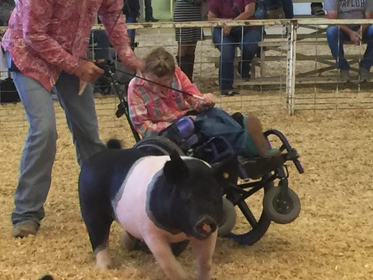 Madison Francis, 10, shows her pig, Wobs, at the 2015 Southern New Mexico State Fair. Madison, who suffers from limited mobility due to swelling on the brain when she was an infant, is being pushed by her father, Jeremy Francis. Both Madison and Wobs are blind.